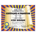 Full Color Custom School Certificates - Scroll Design