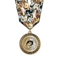 Metallic LFL Dog Show Award Medal w/ Any Multicolor Neck Ribbon
