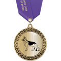Metallic GFL Dog Show Award Medal w/ Any Satin  Neck Ribbon