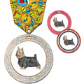Full Color GEM Dog Award Medal w/ Any Multicolor Neck Ribbon