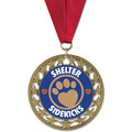 RS14 Full Color Dog Show Award Medal w/ Grosgrain Neck Ribbon