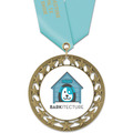 RS14 Full Color Dog Show Award Medal w/ Satin Neck Ribbon