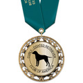 RS14 Metallic Dog Show Award Medal w/ Satin Neck Ribbon