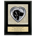 Full Color Dog Show Award Plaque  - Black w/ Tumbled Stone Tile & Engraved Plate