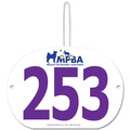 Custom Full Color Large Oval Dog Show Exhibitor Number w/ Hook