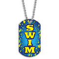 Swim Blue Dog Tag