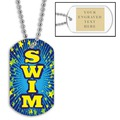 Swim Blue Dog Tag w/ Engraved Plate
