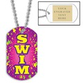 Swim Pink Dog Tag w/ Engraved Plate
