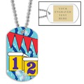 Swim Starting Blocks Dog Tag w/ Engraved Plate