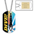 Swim Dive Dog Tag w/ Engraved Plate
