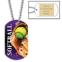 Personalized Softball Dog Tag