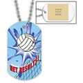 Personalized Volleyball Net Dog Tags w/ Engraved Plate