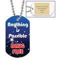 Drug Free Custom Dog Tag  w/ Engraved plate 