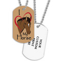 Full Color I Love My Horse Dog Tag w/ 2-Sided Print