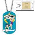 Male/Female Gymnast Dog Tag w/ Engraved Plate