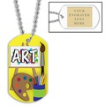 Personalized Art Dog Tags w/ Engraved Plate