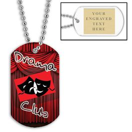 Personalized Drama Club Dog Tags w/ Engraved Plate