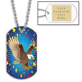 Personalized Eagle Dog Tags w/ Engraved Plate