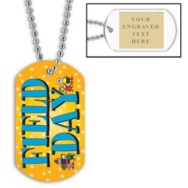 Personalized Field Day Dog Tags w/ Engraved Plate