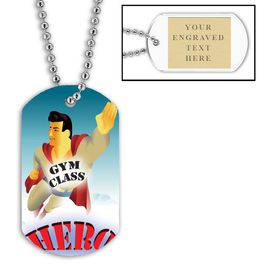 Personalized Gym Class Hero Dog Tags w/ Engraved Plate