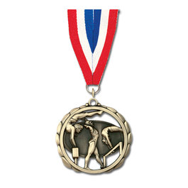 ES Medal w/ Red/White/Blue or Flag Grosgrain Neck Ribbon