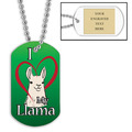 Personalized I Love My Llama Dog Tag w/ Engraved Plate