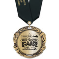 XBX Metallic  Fair, Festival & 4-H Award Medal w/ Satin Neck Ribbon