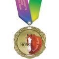 XBX Full Color  Fair, Festival & 4-H Award Medal w/ Specialty Satin Neck Ribbon
