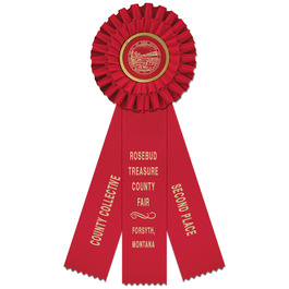 Luxury Fair, Festival & 4-H Rosette Award Ribbon w/ 3 Streamer Printing