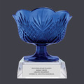 Blue Optical Crystal Award Bowl Trophy w/ Attached Base