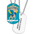 Personalized Male/Female Gymnast Dog Tag w/ Print on Back