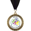 GFL Full Color Gymnastics, Cheer & Dance Award Medal w/ Grosgrain Neck Ribbon