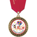 GFL Full Color Gymnastics, Cheer & Dance Award Medal w/ Satin Neck Ribbon