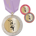 GEM Metallic Gymnastics Award Medal w/ Satin Neck Ribbon