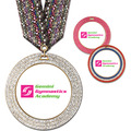 GEM Full Color Gymnastics, Cheer & Dance Award Medal w/ Multicolor Neck Ribbon