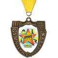 MS Mega Shield Full Color Gymnastics Award Medal w/ Grosgrain Neck Ribbon