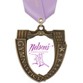 MS Mega Shield Full Color Gymnastics Award Medal w/ Satin Neck Ribbon
