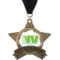 AS All Star Full Color Gymnastics Award Medal w/ Grosgrain Neck Ribbon
