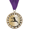 RS14 Metallic Gymnastics, Cheer & Dance Award Medal with Grosgrain Neck Ribbon