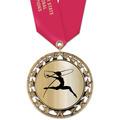 RS14 Metallic Gymnastics, Cheer & Dance Award Medal with Satin Neck Ribbon