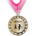 RS14 Metallic Gymnastics, Cheer & Dance Award Medal with Millennium Neck Ribbon