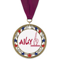 RSG Full Color Gymnastics, Cheer & Dance Award Medal with Grosgrain Neck Ribbon