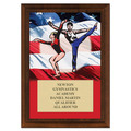 Gym Flag Award Plaque - Cherry Finish