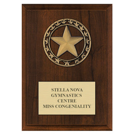 Rising Star Medal Gymnastics, Cheer & Dance Award Plaque - Cherry Finish