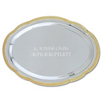 Scalloped Oval Tray w/ Gold Border