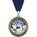 GFL Full Color Hockey Award Medal w/ Grosgrain Neck Ribbon