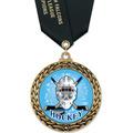 GFL Full Color Hockey Award Medal w/ Satin Neck Ribbon