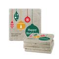 Happy Holidays Tumbled Stone Coasters