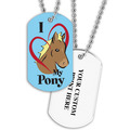 Personalized I Love My Pony Dog Tag w/ Print on Back