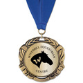 XBX Metallic Horse Show Award Medal w/ Grosgrain Neck Ribbon
